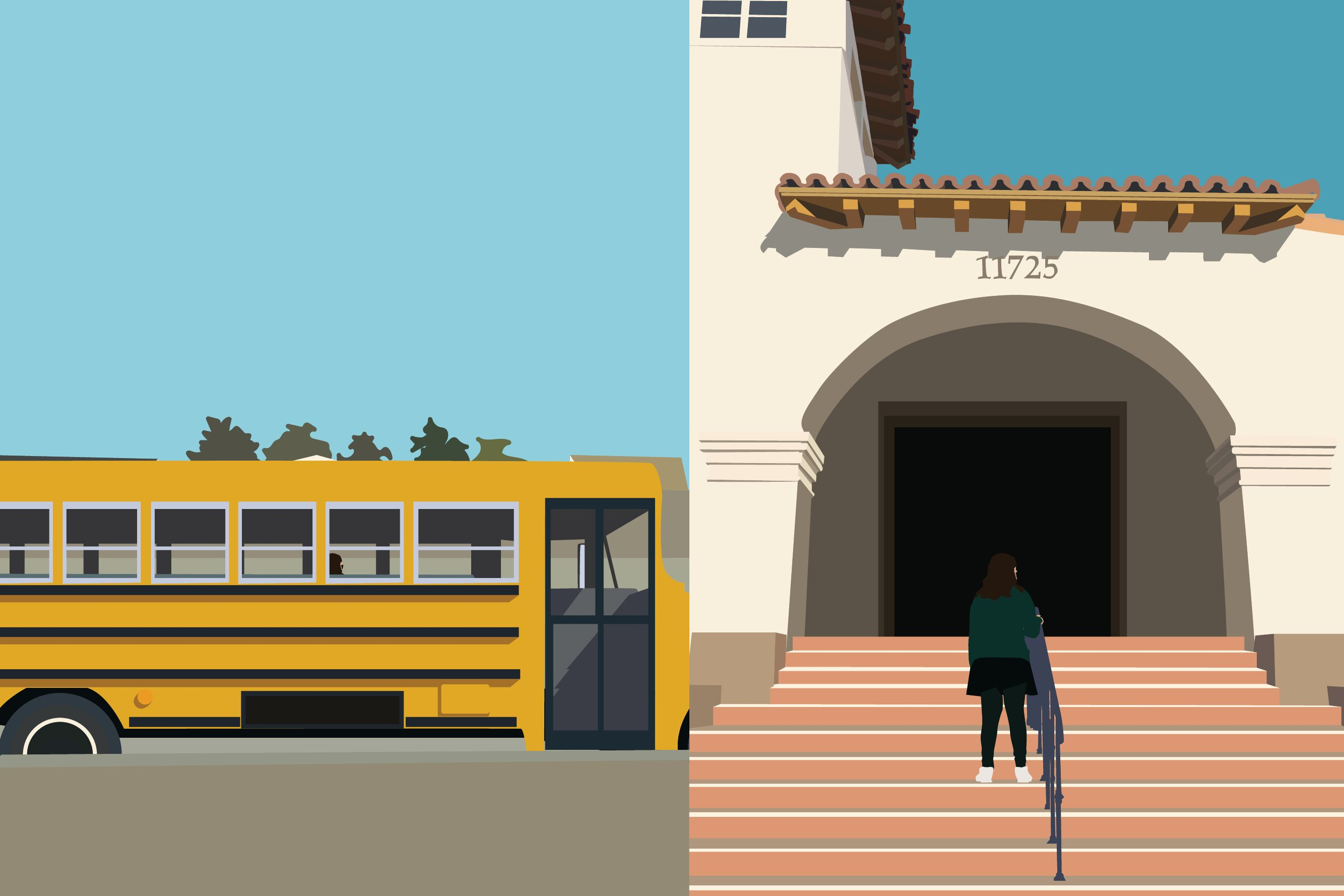 The graphic illustrates the two worlds I feel that I have battled since coming to Archer. As when I am riding on the bus towards school, which is a different environment than I was ever used to, it felt as I entered a second world when I walked up the schools front steps.