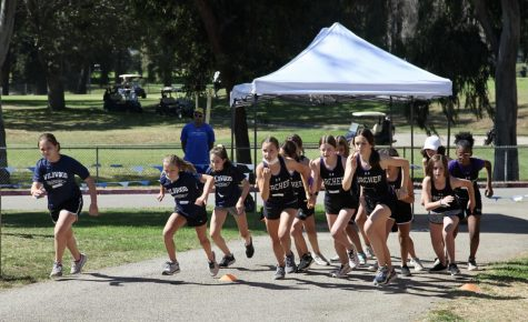 Members of the middle school cross country team take their first stride at a Pacific Basin League (PBL) meet in Cheviot Hills. The running squad has earned first place finishes in both of their September meets, which marks the first time in Archer history for the middle school cross country team.